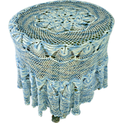 Beautiful Blue and White Hand Crochet Round Tablecloth