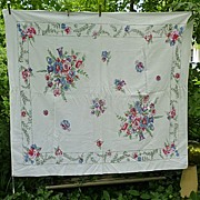 SOLD Red Pink Blue Flowers Jade Green Leaves Vintage 1950's Print Tablecloth