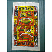 SALE Georges Briard Modern Roosters Print Kitchen Towel.