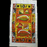 SALE Georges Briard Modern Roosters Print Kitchen Towel.