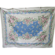 SOLD Sky Blue Center Bursting with Pink White Roses Vintage Print Tablecloth
