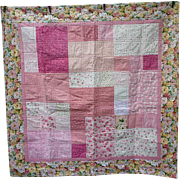 SOLD Pretty Hearts Stars and Flowers 9 Patch Pieced Quilt