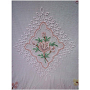 Multicolor Flowers on Pink Vintage Chenille Bedspread for Crafting