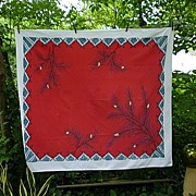 SALE Big Pine Branches on Red Print 50's 60's Tablecloth