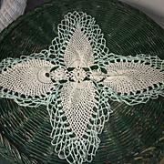 Jade Green Edging White Pineapple Crochet Centerpiece