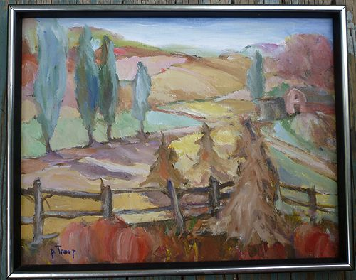 Impressionist Autumn Farm Painting Signed P Trout From