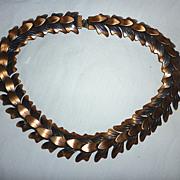 SALE Signed Rebajes Oxidized Copper Leaves Links Necklace