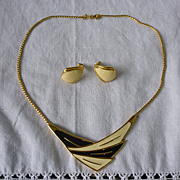 SALE Monet Goldtone and Enamel Choker Necklace and Earrings Set