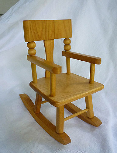 Strombecker Maple Doll Rocking Chair for 8 Inch Dolls