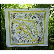 SALE Sunny Florida State Souvenir Tablecloth Vintage 1950s