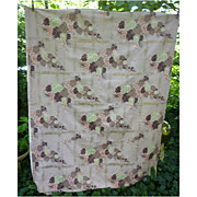 SALE Clusters of Flowers  Leaves Vintage Barkcloth Panel 3 1/2 Yds
