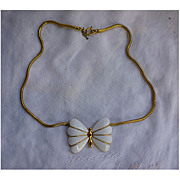 Trifari Butterfly Goldtone and White Enamel Choker Necklace
