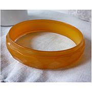 Diamond Faceted Orange Yellow Translucent Bakelite Bangle Bracelet