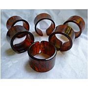 SALE Rootbeer Swirl Lucite Napkin Rings Set of 6