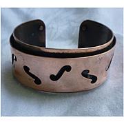 SALE Modernist Design F Holes Copper Cuff Bracelet