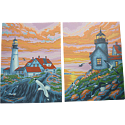 SOLD Lighthouses at Sunset Vintage Paint-by-Numbers Paintings Set of 2