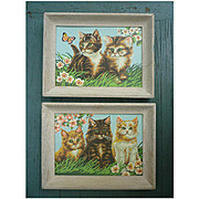 Fluffy Kittens Flowers and Butterfly Vintage Paint-by-Numbers Paintings Set of 2 Framed