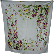 SOLD Irises and Water Lilies Vintage Print Tablecloth