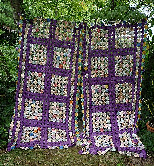 Exquisite 1930's Purple and Prints Fabrics Yo Yo Quilt