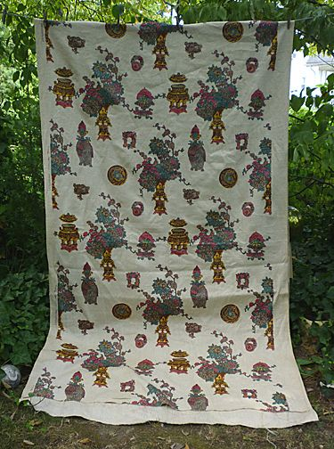 Ming Fantasy Handprint Heavy Linen Decorator Fabric 5 + Yards