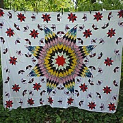 Star of Bethlehem Hand Pieced and Appliqued Quilt Top