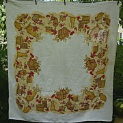 SALE Mellow Fall Fruits Leaves Print Linen Tablecloth