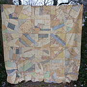Soft Pastel Embroidered Antique Silk Crazy Quilt
