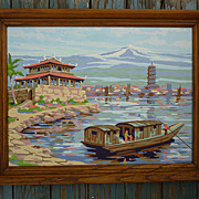 Oriental Landscape Vintage Paint-by-Numbers Framed Painting