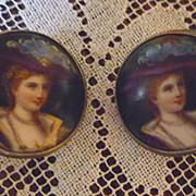 SALE Victorian Ladies Portrait Limoges Style Enamel Porcelain and Silver Earrings