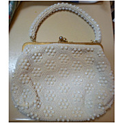 Le Jule Label Vintage 50s White Beaded Purse Handbag
