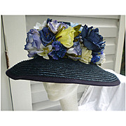 SALE Exclusively For You Lord & Taylor Fabulous Flowers Navy Blue Straw Hat