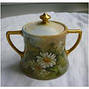 William Guerin (WG&Co.) Limoges France Floral Sugar Bowl with Lid Signed G Niemeyer 1912