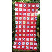 Colorful 9 Patch with Red Sash Quilt Top