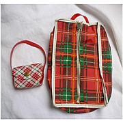 "Tartan Plaid Dress Bag and Tote Travel Set for 8"" Doll"
