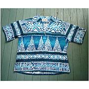 Hoaloha Vintage Barkcloth Hawaiian Zipper Front Shirt