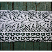 Embroidered Vine Delicate Detail White Insertion Lace Trim 12 2/3 Yds