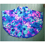 Lauhala Vintage Barkcloth Hawaiian Zipper Front Ladies Cape Poncho