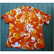 Sunny Orange Yellow White Barkcloth Hawaiian Aloha Surfer Shirt