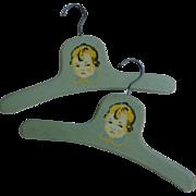 Pair 1930s Child's Blue Wood Hangers Sweet Little Boy