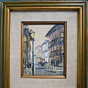 French Quarter New Orleans Impressionist Oil on Canvas Board Framed Signed