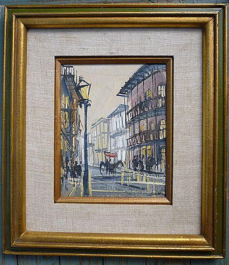 French Quarter New Orleans Impressionist Oil on Canvas Board Framed Signed