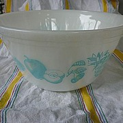"""SALE Federal Glass Fruit Fare Turquoise on White 9"""" Mixing Bowl"""