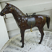 Vintage Leather Toy Horse Sculpture with Saddle Bridle