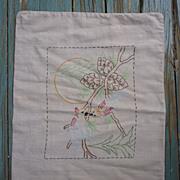 SALE Arts & Crafts Love Birds Pine Embroidered Linen Pillow Sham