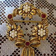 SALE Avon Wreath Brooch Pearls Red Rhinestones Flowers and Ribbons
