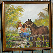 Folk Art Lady With Horse Oil on Canvas Board Signed