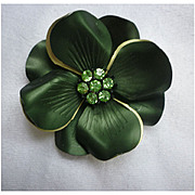 Green and Sparkling Rhinestones Dogwood Flower Power Brooch