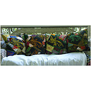 Embroidered Victorian Crazy Quilt Pillows with Birds and Flowers