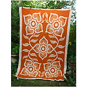 Bold Hearts and Flowers Reversible Woven Plush Vintage Wool Blanket