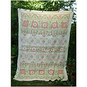 Soft Pink Green Flowers Reversible Woven Plush Vintage Wool Blanket